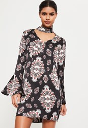 Missguided Black Print Choker Neck Belted Dress