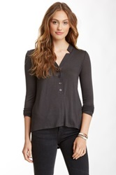 Twenty Front Button Long Sleeve Tee Gray
