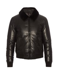 Alexander Mcqueen Fur Collar Padded Leather Bomber Jacket Black