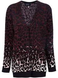 Lanvin Intarsia Leopard Print Cardigan Pink And Purple