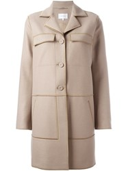 Carven Single Breasted Coat Brown