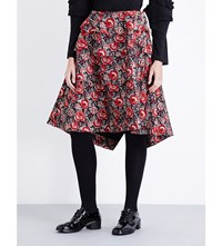 Comme Des Garcons Tiered Floral Jacquard Skirt Blk Red Gry