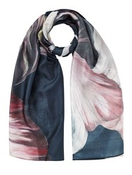 Jigsaw Magnified Floral Silk Scarf Navy