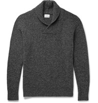 Kingsman Shawl Collar Wool And Cashmere Blend Sweater Dark Gray
