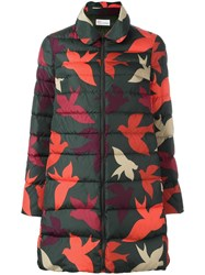 Red Valentino Leaf Print Padded Coat Red