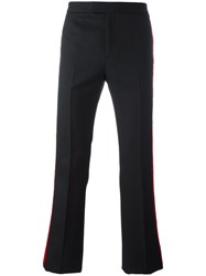 Saint Laurent Contrast Velvet Stripe Trousers Black