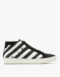 Off White Brushed Diagonals Mid Sneaker Black White