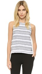 Generation Love Joel Striped Boucle Sleeveless Top Black White