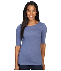 The North Face Long Sleeve Flashdry Pocket Tee Coastal Fjord Blue Heather Women's Long Sleeve Pullover