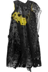 Sacai Embroidered Organza And Lace Paneled Printed Voile Dress Black