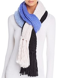 Kate Spade New York Hand Knit Color Block Muffler Scarf Blue