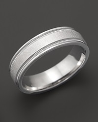 Bloomingdale's Men's 14K White Gold Comfort Feel Engraved Wedding Band