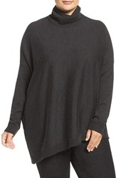 Eileen Fisher Plus Size Women's Merino Jersey Asymmetrical Turtleneck Charcoal