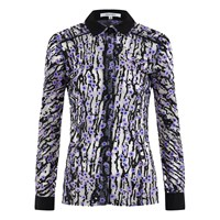 Carven Women's Printed Blouse Silver Black Lilac