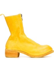 Guidi Zip Up Mid Calf Boots Yellow And Orange