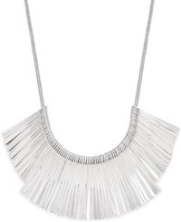 Inc International Concepts Silver Tone Fringe Collar Necklace Only At Macy's