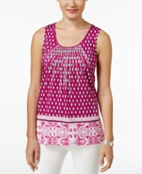 Charter Club Printed Pintucked Tank Top Only At Macy's Spanish Rose