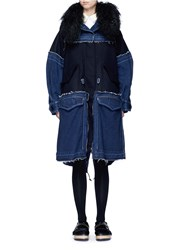 Sacai 'Runway' Shearling Denim Patchwork Military Coat Blue