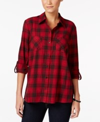 Styleandco. Style Co. Petite Floral Back Plaid Shirt Only At Macy's Red