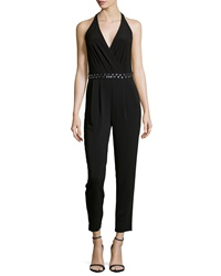 Laundry By Shelli Segal Beaded Trim Cutout Back Sleeveless Jumpsuit Black