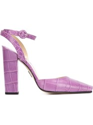 Paul Andrew Paul Andrew X Emilia Wickstead Open Toe Pumps Pink And Purple