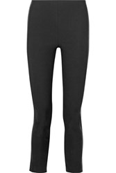 Rag And Bone Dani Leather Paneled Stretch Cotton Blend Skinny Pants Black