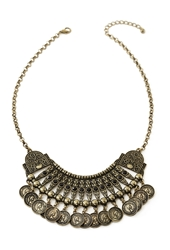 Forever 21 Rhinestoned Coin Bib Necklace