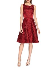 Tahari By Arthur S. Levine Lace And Satin Flared Dress Lipstick Red