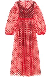 Paskal Polka Dot Flocked Tulle Dress Red