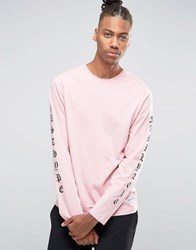 Hype Long Sleeve T Shirt With Arm Print Pink
