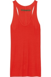 Enza Costa Ribbed Jersey Tank Red