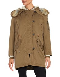 Parka London 2 In 1 Bomber Lined Faux Fur Trimmed Moss