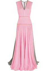 Roksanda Ilincic Appley Striped Textured Silk Blend Crepe Gown Baby Pink