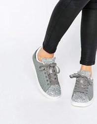 Missguided Glitter Trainers Grey
