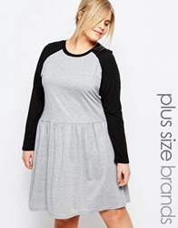 One Day Plus Contrast Raglan Jersey Skater Dress Gray