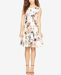 American Living Floral Print Neoprene Dress Cream Multi