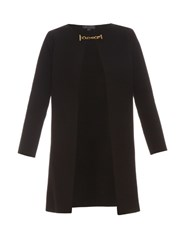 Burberry Collarless Wool And Cashmere Blend Knit Coat Black