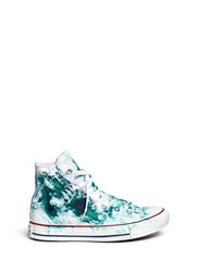 Rialto Jean Project One Of A Kind Hand Painted Splash High Top Sneakers Sz 37 Green