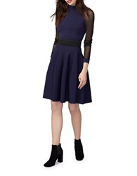 Rachel Roy High Neck Three Quarter Sleeve Fit And Flare Dress Sapphire Black