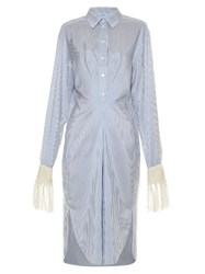 Loewe Fringed Cuff Striped Midi Shirtdress Blue Stripe