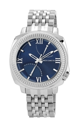 Vince Camuto Textured Bezel Bracelet Watch 44Mm Silver Navy