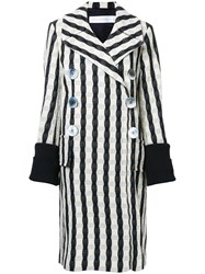 Victoria Beckham Striped Double Breasted Coat White