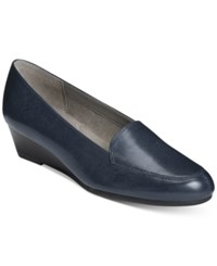 Aerosoles Lovely Wedge Flats Women's Shoes Dark Blue Leather