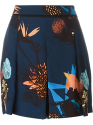 Proenza Schouler Pleated Floral Shorts Blue