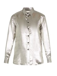 Saint Laurent Long Sleeved Silk Blend Lame Shirt Silver