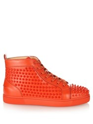 Christian Louboutin Louis Spiked Leather High Top Trainers Orange