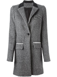 Paco Rabanne Houndstooth Coat Grey