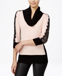 Amy Byer Bcx Juniors' Lace Sleeve Colorblocked Sweater Blush