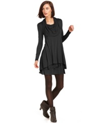 Kensie Long Sleeve Cowl Neck T Shirt Dress Heather Charcoal
