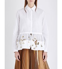 Delpozo Flower Embellished Cotton Poplin Shirt Optical White
